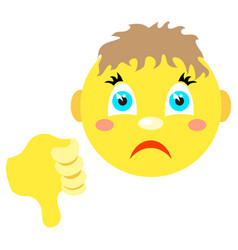 smiley boy with thumb thumb down vector image vector image