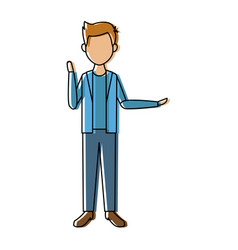 young man standing with folded arms front view vector image