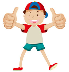 a boy with thumbs up posing in happy mood isolated vector image