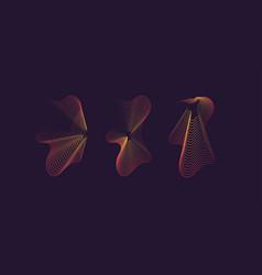 A set amorphous shapes on dark background vector