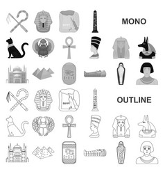 Ancient egypt monochrom icons in set collection vector