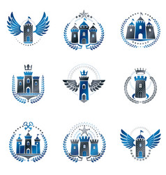 ancient fortresses emblems set heraldic coat of vector image