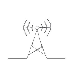 antenna one line drawing vector image