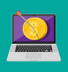 Arrow in coin target on laptop screen vector