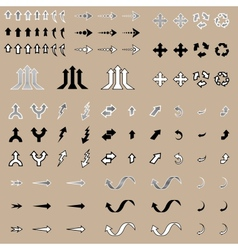 Arrow Stickers Set Isolated vector image