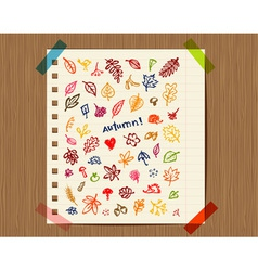 Autumn background sketch drawing for your design vector image