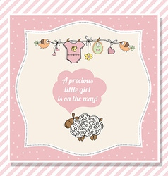 Baby girl shower card with little sheep vector
