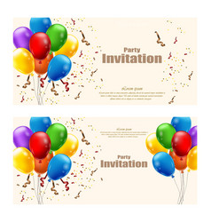 Balloons party invitation card celebrate vector