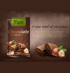 banner of milk chocolate with hazelnuts vector image