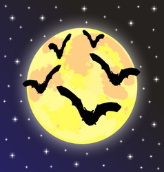 bats on background full moon vector image