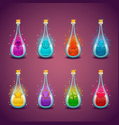 big set with different luminous magic elixir vector image