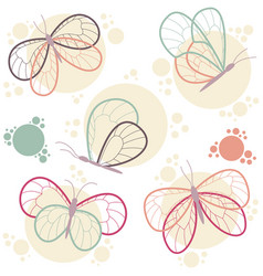 Bright colorful butterflies icon set vector