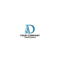 building in letter d logo design vector image