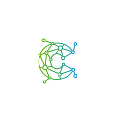 C letter connect dot network logo icon design vector