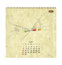 Calendar 2014 june Streets of the city sketch for vector