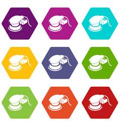 Circular sheet sander icons set 9 vector