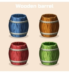 colored cartoon wooden barrels game elements vector image