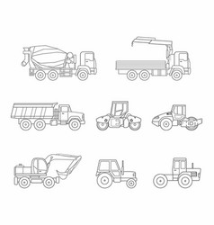 construction machines icons set thin line style vector image