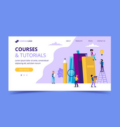 courses and tutorials learning landing page with vector image