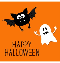 Cute cartoon bat and ghost Happy Halloween card vector image