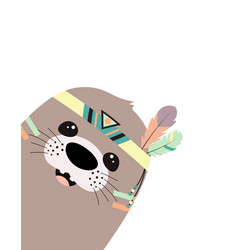Cute cartoon seal animal in scandinavian tribal vector