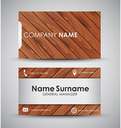 Design of the business card with wooden texture vector image