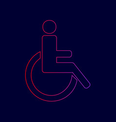 disabled sign line icon with vector image