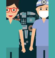 doctor surgeon and paramedic with mask staff vector image