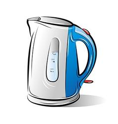 Drawing blue teapot kettle vector