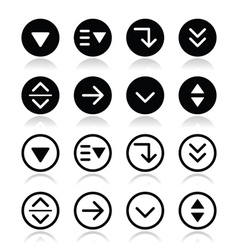 Drop down menu round icons set vector image