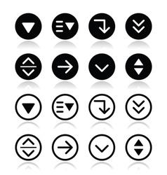 Drop down menu round icons set vector
