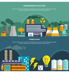 Environmemtal pollution and power plant banner vector image