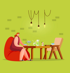 female sitting with cocktail in coffeehouse vector image