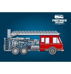 Fire truck icon with mechanical details vector image vector image