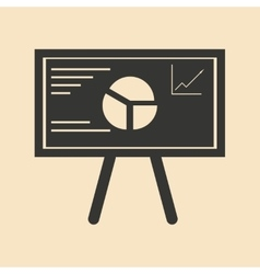 Flat in black and white graph on blackboard vector image
