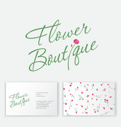 floral boutique logo wedding seamless pattern vector image