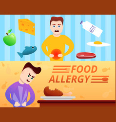 Food allergy banner set cartoon style vector