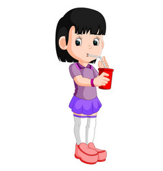 Girl drinking from a can vector