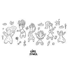 girl power doodle style vector image