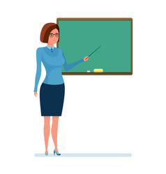 girl teacher with school pointer in hand next to vector image