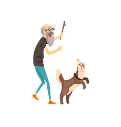 grandfather playing with his dog with a stick vector image