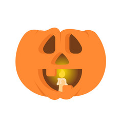 Halloween pumpkin with a candle inside vector