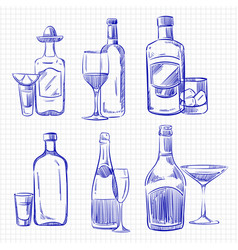 Hand drawn popular drinks - ballpoint pen sketch vector