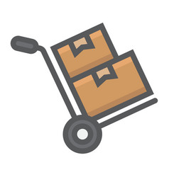 hand truck with boxes filled outline icon vector image