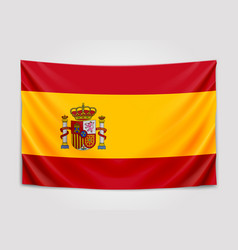 Hanging flag of spain kingdom of spain national vector