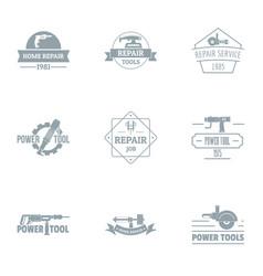 Home renovation logo set simple style vector