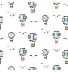 hot air balloons and birds seamless pattern vector image
