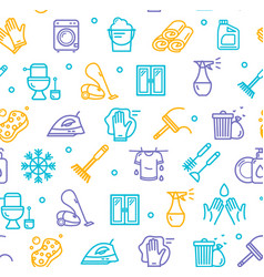 household and cleaning tools pattern background on vector image