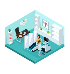 isometric pregnancy medical examination concept vector image
