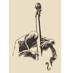 Jazz man playing the double bass hand drawn sketch vector